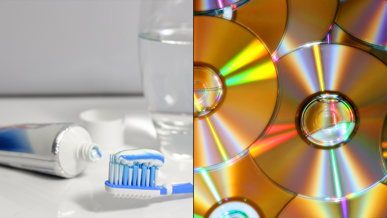 toothpaste on video game discs